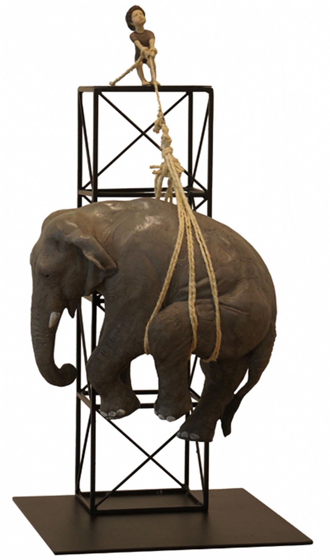 Mark Sachem Gallery, Stefano Bombardieri, Francesco E L'elefante 5/8, Bronze, 35x34x71cm, 2014