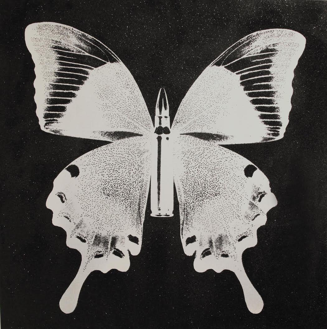 Vogelsang Gallery, Rubem Robierb, Pearl Butterfly on Black, Diamond Dust, Silkscreen, Hand Painting, 120 x 120 cm, 2015