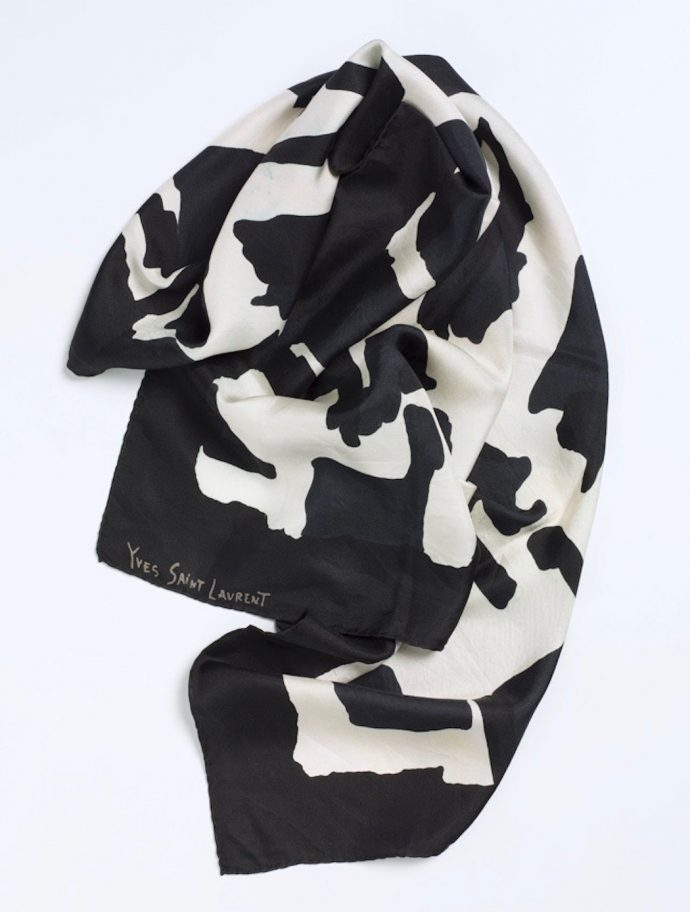 Erich Biehle fashion mode Elusive Magazine Dimitria Markou black and white YSL scarf